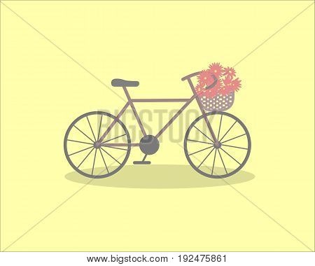 Pretty scenery in a rustic style. A purple bike and a basket of the flowers. Light yellow background. A vector illustration