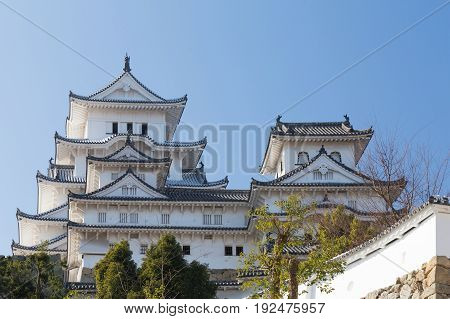 Himeji temple with clear blue sky background Japan hitoric landmark