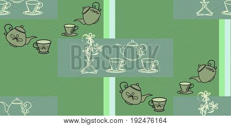 Seamless pattern with tea pots and tea cups.Wallpaper for kitchen, oilcloth, vector EPS10