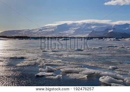 Beautiful natural winer season lagoon in Iceland natural landscape background
