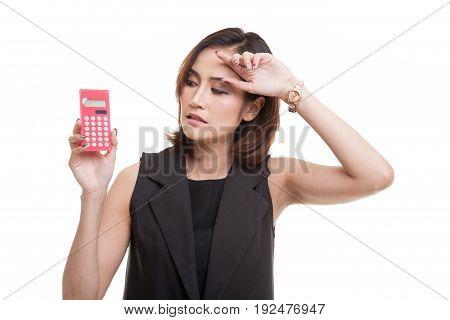 Asian Woman Got  Headache With Calculator.
