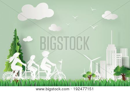 paper art of earth day and world environment day with family concept eco vector