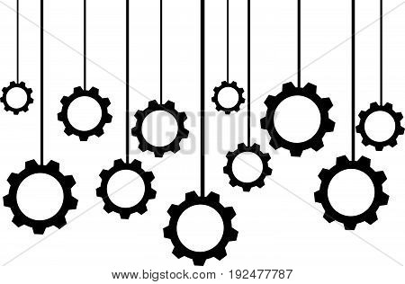 Hanging gears isolated on white background. Vector illustration.