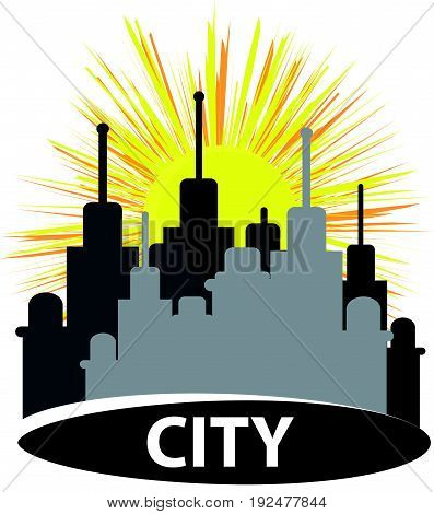 City silhouette with sun isolated on white background. Vector illustration.