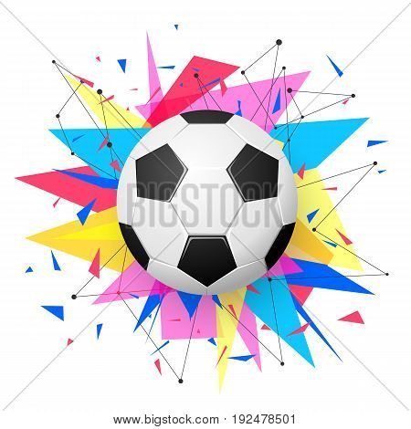 Football emblem template. Soccer ball with colorful geometric triangle shapes, modern abstract paper explosion. Dynamic, energy sport banner design. Vector illustration.