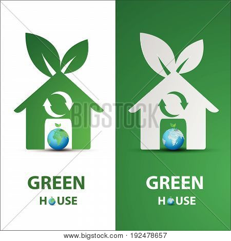 paper art of Green my house logo with eco concept idea vector