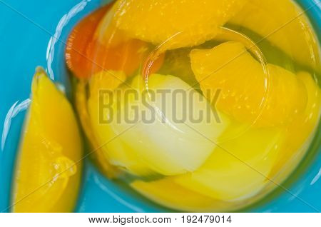Fruit Jelly Mix On A Blue Plate