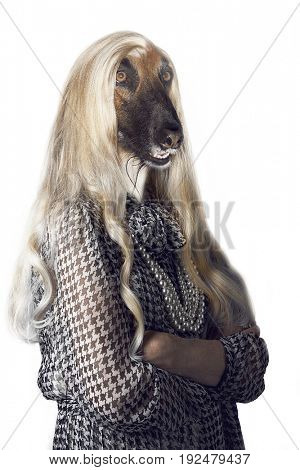 Senior woman with dog's head and long hair