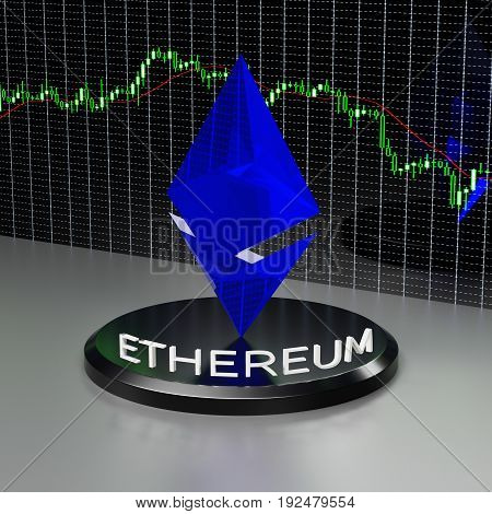 Ethereum currency sign and financial graph on the wall. 3D rendering.