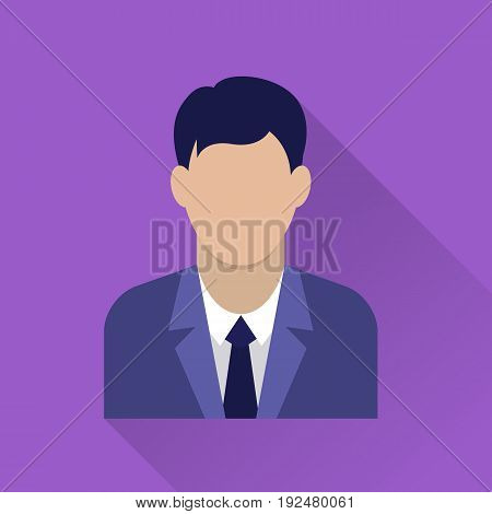 Businessman flat icon. Man in business suit. Avatar of businessman. Flat internet icon with long shadow in cartoon style. Web and mobile design element. Male profile. Vector colored illustration.