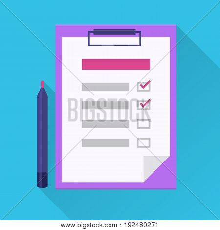 Checklist flat icon. Check list on the clipboard and pen. Flat internet icon with long shadow in cartoon style. To do list with marks. Vector colored illustration.