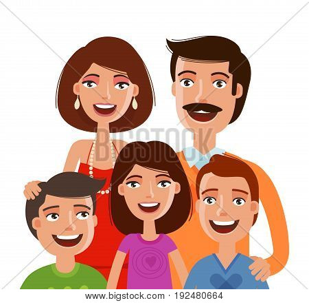 Happy large family, portrait. People, parents and children. Cartoon vector illustration isolated on white background