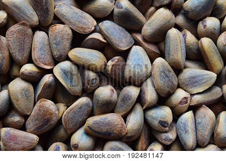 Closeup of brown Korean cedar nuts texture to background