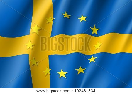 Sweden national flag with a circle of European Union twelve gold stars, symbol of unity with EU, member since 1 January 1995. Realistic vector style illustration