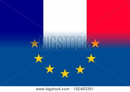 France national flag with a flag of European Union twelve gold stars, ideals of unity with EU, member since 1 January 1958. Vector flat style illustration