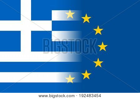 Greece national flag with a flag of European Union twelve gold stars, identity and unity with EU, member since 1 January 1981. Vector flat style illustration