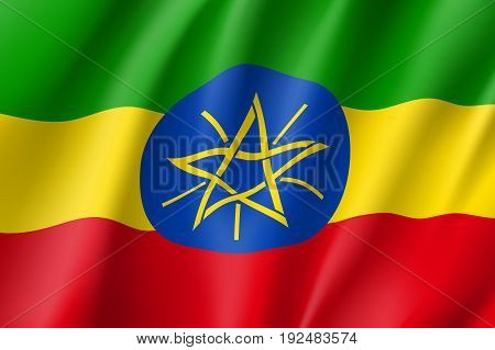 Waving flag of Ethiopia. Sign african state in proportion correctly and official colors: red, green, yellow. Patriotic sign Eastern Africa country. Vector icon illustration