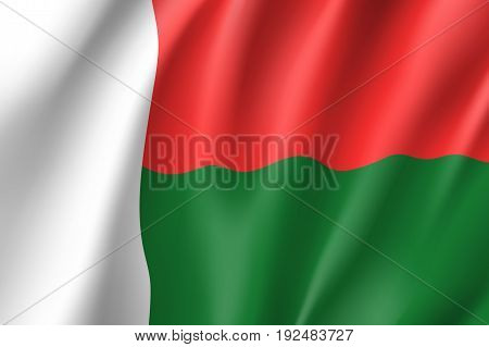 Waving flag of Madagascar. Symbol african state in proportion correctly and official national colors. Patriotic sign Eastern Africa country. Vector icon illustration