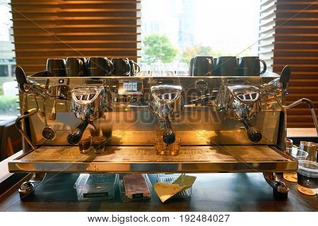 SEOUL, SOUTH KOREA - CIRCA MAY, 2017: coffee machine at Starbucks Reserve in Seoul. Starbucks Corporation is an American coffee company and coffeehouse chain.
