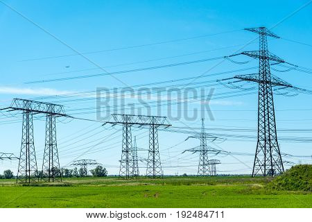 Transmission cables and towers seen in Germany