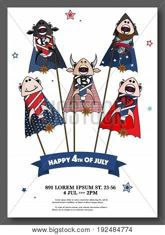 Vector USA Independence Day card. 4th July greeting celebration print with fireworks, flag, stars. Happy holiday of united America. Patriotic decoration, memorial symbol