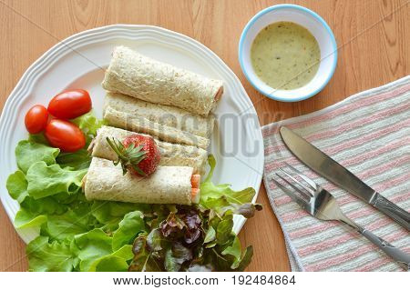 bread roll and salad dipping sauce for breakfast