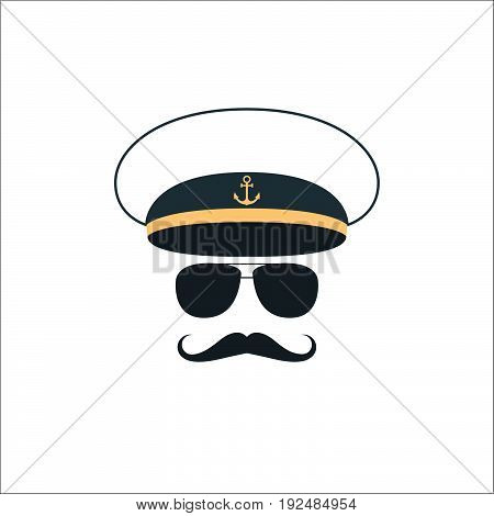 Captain sailor face icon on white background. Vector illustration.