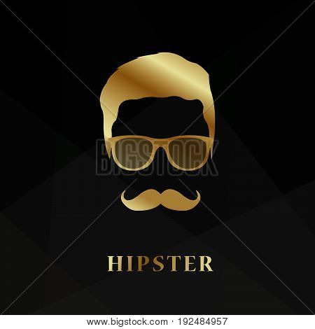 Golden silhouette face hipster on black background. Vector illustration.
