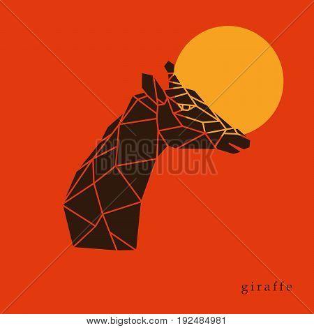 Giraffe head geometric lines silhouette isolated on orange background. Giraffe side view. Poster giraffe on the background of the sun.