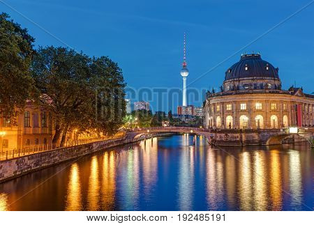 Bode Museum and Television Tower in Berlin at dusk