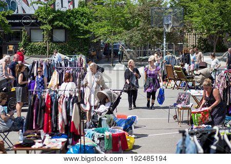 Copenhagen, Denmark - June 11, 2017: People at a small flea market in the city centre