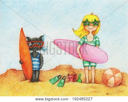 hands drawn picture of girl and cat standing on a beach with surfboards by the color pencils