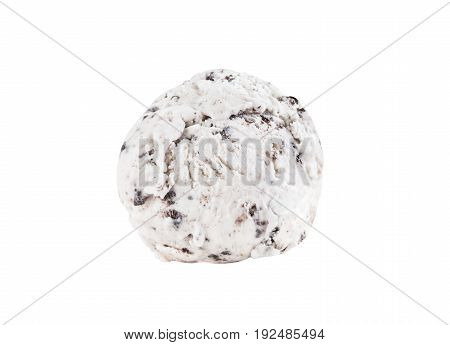 Cookies and cream ice cream scoop isolated on white background (clipping path included) close-up shot