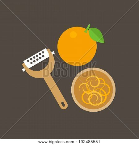 Grater And orange zest in bowl, flat design icon