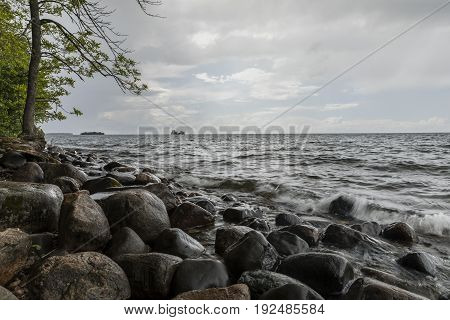 Mille Lacs Lake on a stormy day.