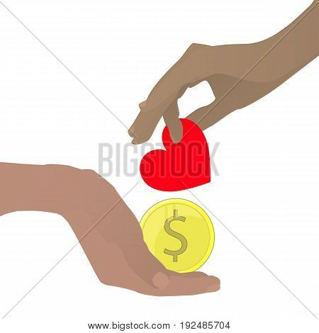 Prostitution Concept. Hand With A Heart