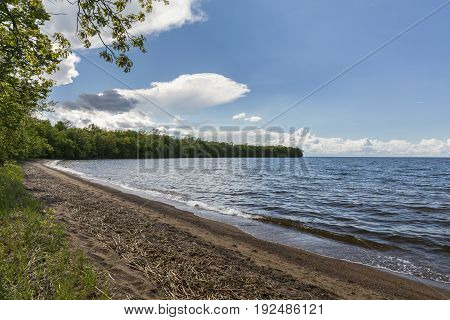 The big Mille Lac Lake with a beach.