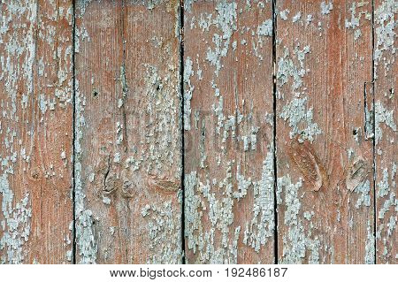 Brown With Blue Vintage Planks. Vertically Arranged. Texture. Background