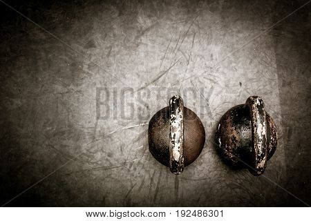 Kettle bell. Kettle bells on the gym floor.