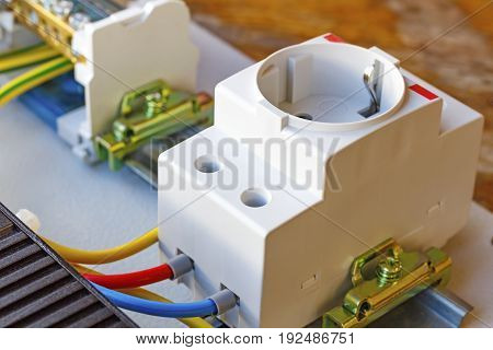 Electrical Outlet Installed On The Din Rail
