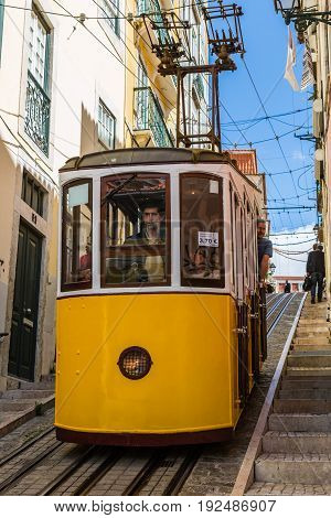 Lisbon, Portugal - May 18, 2017: Typical Old Tram In Lisbon, Portugal