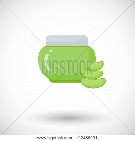 Cosmetic jar Aloe vera product vector flat icon Flat design of alternative medicine cosmetology product and healthcare with round shadow