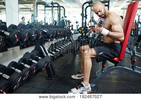Active man with barbells training in gym