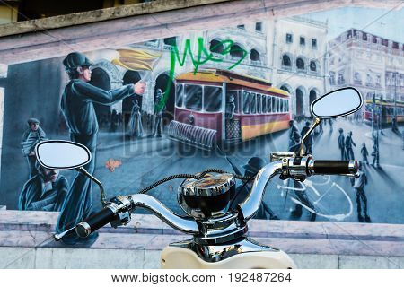 Lisbon, Portugal - May 20, 2017: Fragments From The Streets Of Old Lisbon, Portugal