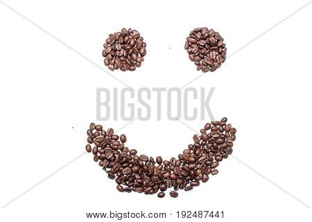 Cheerful Smiley From Coffee Beans, Isolated On White Background