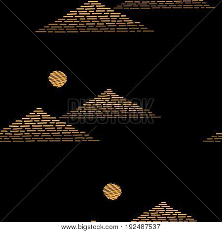 Seamless pattern with embroidery stitches imitation gold pyramids and sun. Egyptian pyramids embroidery pattern for printing on fabric paper for scrapbook gift wrap.
