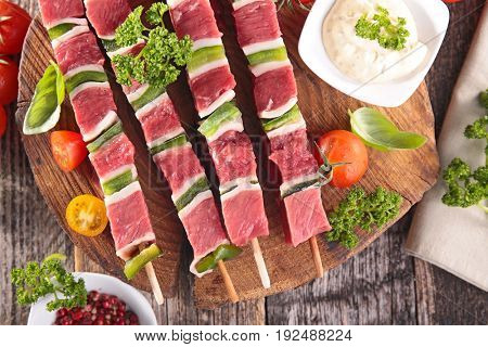 raw beef skewer for barbecue