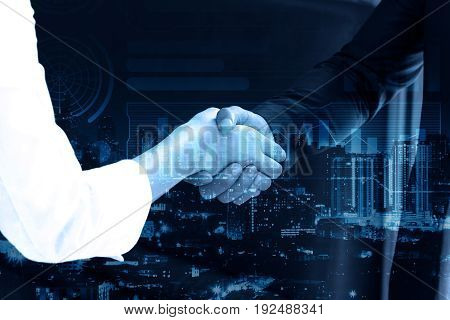 double exposure Business people shaking hands after closing deal in office partnership merger and acquisition concept