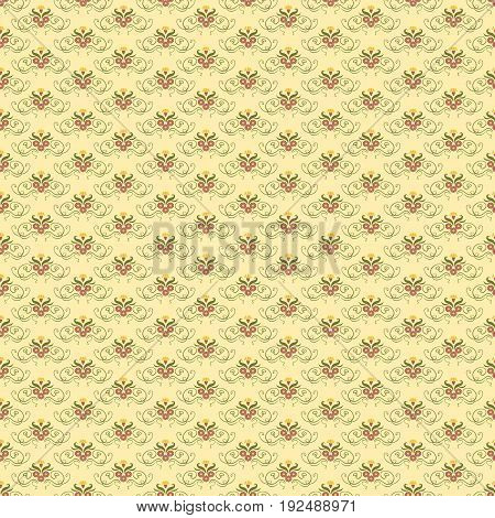 Vector damask seamless pattern. Elegant luxury vintage texture for wallpapers, backgrounds and page fill. Ornamental shape nature antique retro wallpaper.