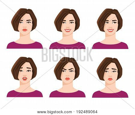 Collection of woman's emotions. Vector illustration of variations of facial expression.